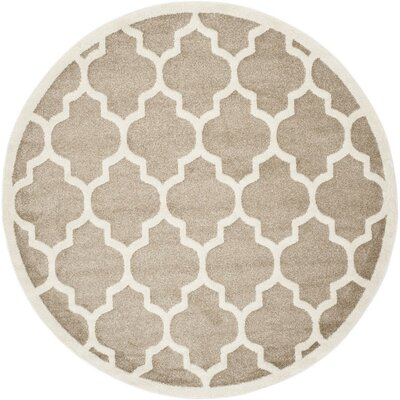 Carman Beige Indoor/Outdoor Area Rug Rug Size: Round 7