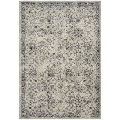 Dayton All Over Floral Oyster/Pepper Area Rug Rug Size: 92 x 125