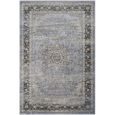 Connors All Over Sarouk Slate Blue/Cream Area Rug Rug Size: Rectangle 92 x 125