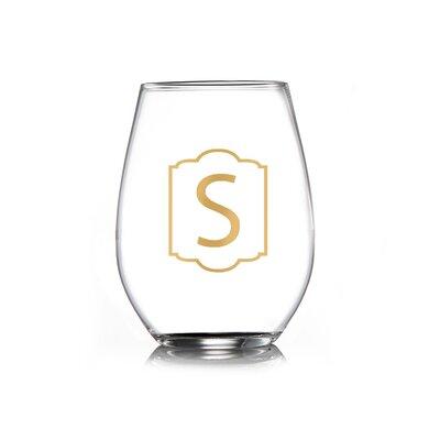 Delaware Monogram Gold Stemless Wine Glass Monogram: