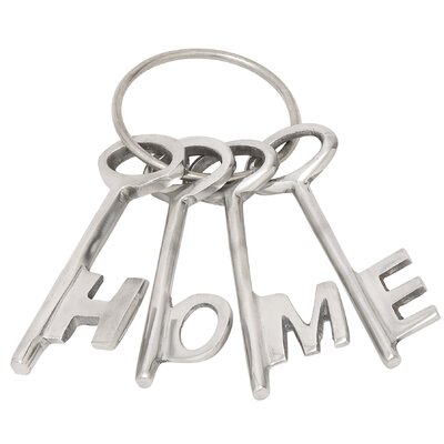 4 Piece Aluminum Decorative Key Set Color: Silver