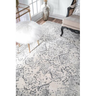 Dorothea Ivory/Gray Area Rug Rug Size: Rectangle 9 x 12