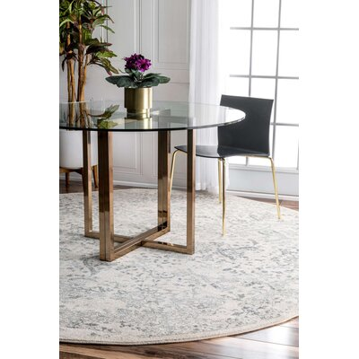 Dorothea Ivory & Gray Area Rug Rug Size: Round 8