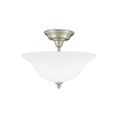 Darmstadt 3-Light Semi Flush Mount Finish: Brushed Nickel, Shade Color: Satin White