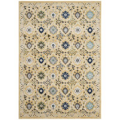 Pike Gold / Ivory Area Rug Rug Size: 3 x 5