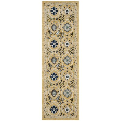 Pike Gold / Ivory Area Rug Rug Size: Runner 2'2