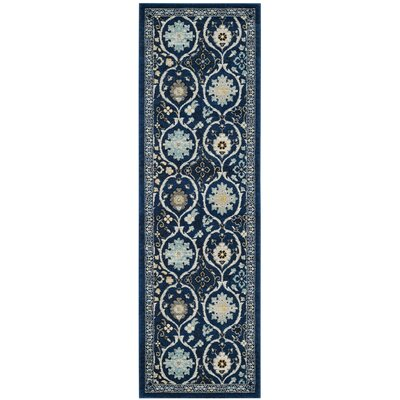 Pike Navy/Ivory Area Rug Rug Size: Square 7