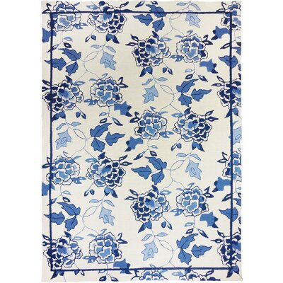 Dellroy Floral Repeat White/Blue Area Rug Rug Size: 3 x 5