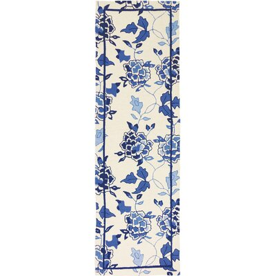 Dellroy Floral Repeat White/Blue Area Rug Rug Size: Runner 24 x 76