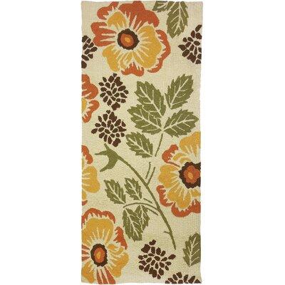 Dorothy Floral Beige Indoor/Outdoor Area Rug Rug Size: Runner 22 x 5