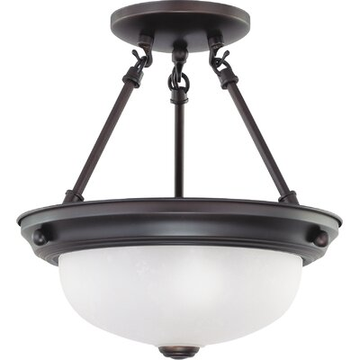 Dothan 2-Light Semi Flush Mount Size: 12 H x 11.375 W, Bulb Type: Incandescent