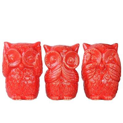 3 Piece Ceramic Owl No Evil Figurine Set Color: Red