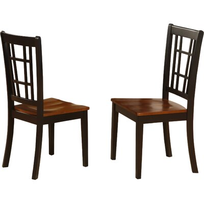 Bolivia Solid Wood Dining Chair (Set of 2) Finish: Black & Cherry