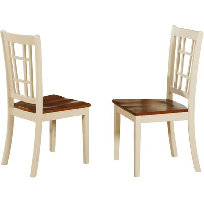 Bolivia Solid Wood Dining Chair (Set of 2) Finish: Buttermilk & Cherry