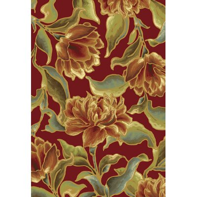 Fernson Red Bella Area Rug Rug Size: 33 x 47