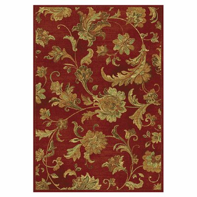 Fernson Cherry Aegean Scroll Area Rug Rug Size: 33 x 47