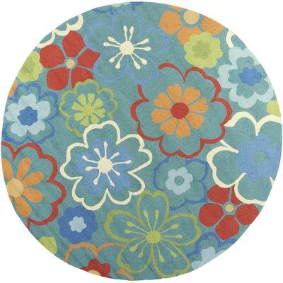 Duncansville Blue Floral Splash Area Rug Rug Size: Round 76