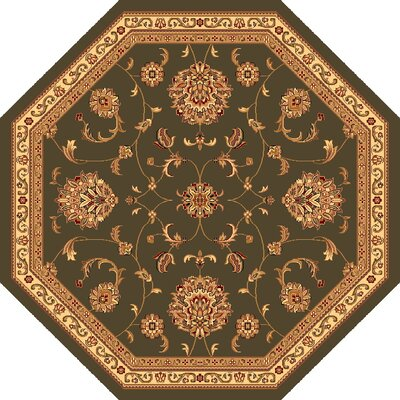 Bellville Light Green & Ivory Area Rug Rug Size: Octagon 77