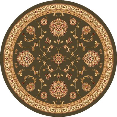 Bellville Light Green & Ivory Area Rug Rug Size: Round 77