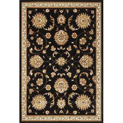 Bellville Allover Mahal Black Area Rug Rug Size: Round 77