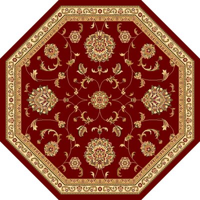 Bellville Red & Beige Area Rug Rug Size: Octagon 77