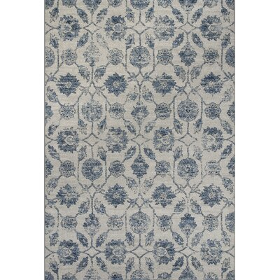 Laurita Ivory/Blue Area Rug Rug Size: Rectangle 27 x 411
