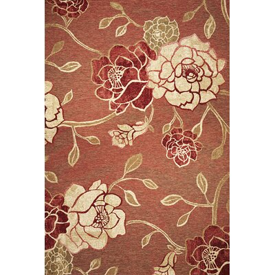Freeport Brick Red Flora Indoor/Outdoor Area Rug Rug Size: Rectangle 34 x 411