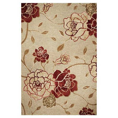 Freeport Burgundy/Beige Flora Indoor/Outdoor Area Rug Rug Size: Rectangle 34 x 411