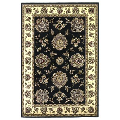 Bellville Black/Ivory Floral Mahal Area Rug Rug Size: Rectangle 18 x 27