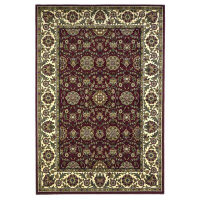 Bellville Red / Ivory Floral Area Rug Rug Size: Rectangle 53 x 77