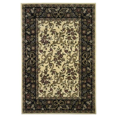 Bellville Ivory/Black Floral Area Rug Rug Size: Rectangle 33 x 411