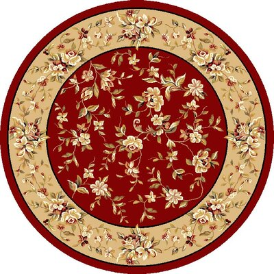 Bellville Red & Beige Floral Area Rug Rug Size: Round 77