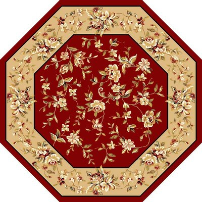 Bellville Red & Beige Floral Area Rug Rug Size: Rectangle 53 x 77
