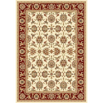 Bellville Kashan Ivory/Red Rug Rug Size: Rectangle 53 x 77