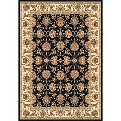 Bellville Kashan Hand-Woven Black/Ivory Area Rug Rug Size: Rectangle 53 x 77