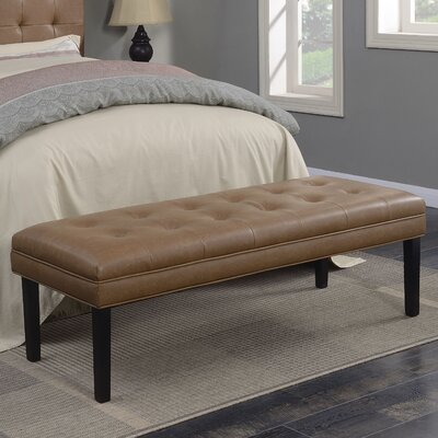 Rosamond Biscuit Tuft Upholstered Leather Bedroom Bench Color: Brown