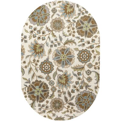 Millwood Hand-Tufted Brown/Beige Area Rug Rug size: Oval 8 x 10