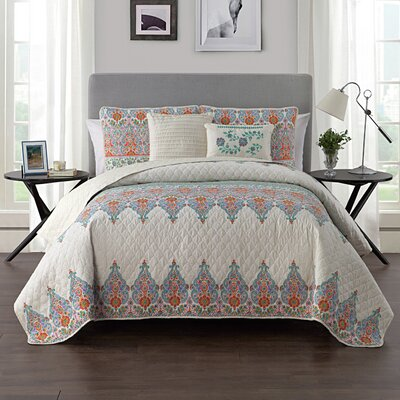 Carpentersville Quilt Set Color: Jade/Orange, Size: Twin/XL Twin