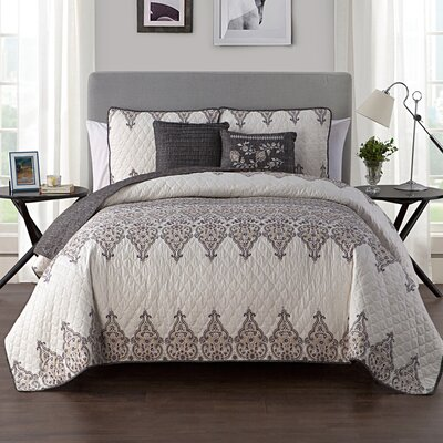 Carpentersville Quilt Set Color: Grey/Yellow, Size: Twin/XL Twin