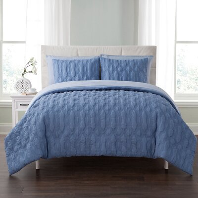 Niagara Embossed 5 Piece Bed in a Bag Set Color: Blue, Size: King
