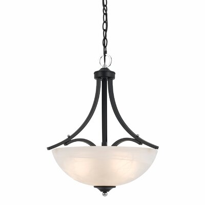 Crofoot 3-Light Metal Bowl Pendant Finish: Black with Chrome Accent