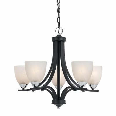 Crofoot 5-Light Shaded Chandelier Finish: Black with Chrome Accent