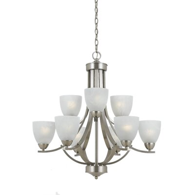 Finn 9-Light Metal Shaded Chandelier Finish: Satin Nickel with White Swirl Glass
