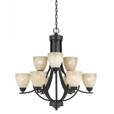 Crofoot 9-Light Metal Shaded Chandelier Finish: Bronze with Tea Stained Glass