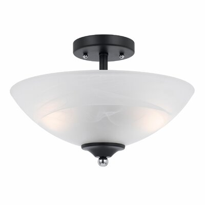 Klamath 2-Light Semi Flush Mount Finish: Black with Chrome Accent, Shade Color: White Swirl Alabaster