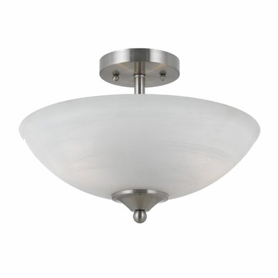 Crofoot 2-Light Semi Flush Mount Finish: Satin Nickel, Shade Color: White Swirl Alabaster