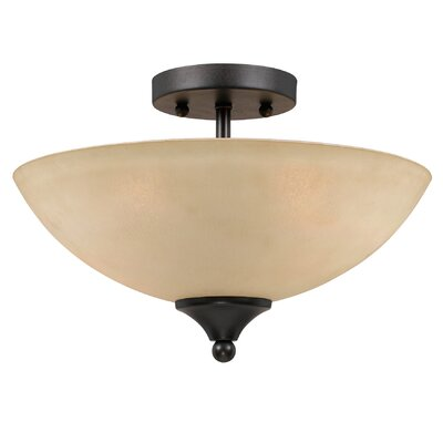 Finn 2-Light Semi Flush Mount Finish: Bronze, Shade Color: Tea Stained