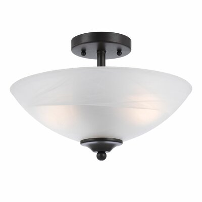 Crofoot 2-Light Semi Flush Mount Finish: Bronze, Shade Color: White Swirl Alabaster