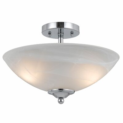 Crofoot 2-Light Semi Flush Mount Finish: Chrome Plated, Shade Color: White Swirl Alabaster
