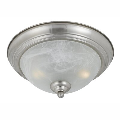 Crofoot 2-Light Flush Mount Finish: Satin Nickel, Shade Color: White Swirl Alabaster, Size: 6